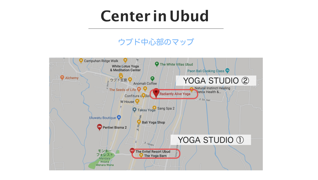 Yoga studio map in ubud